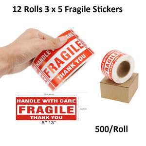 12 Rolls 500 roll Large 3x5 Fragile Stickers Handle With Care Shipping Labels