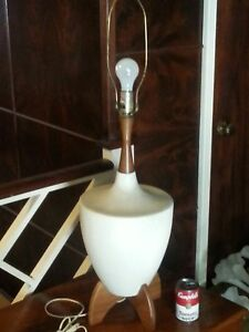 Vintage Mid Century Modern Ceramic And Teak Or Wood Table Lamp Retro Footed Base