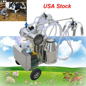 Usa Farm Cow Dairy Cattle Milking Milker Machine Kit two Bucket Tank Barrel 110v