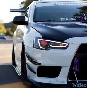 Audi Style Blackout Headlights For 08 17 Mitsubishi Lancer Evo X Red Eyes Lamps