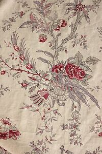 French Printed Linen Curtain Antique C1930 Pink Purple Red Faded Floral Drape