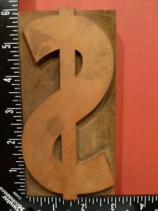 6 By 3 Dollar Sign Antique Wood Letterpress Type Printers Block