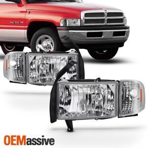 Fit 1994 01 Dodge Ram 1500 2500 3500 Pickup Clear Headlights Corner Signal Lamps