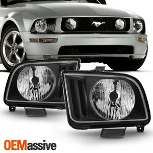 Fit 2005 2006 2007 2008 2009 Ford Mustang Black Headlights Pair Lamps Left right
