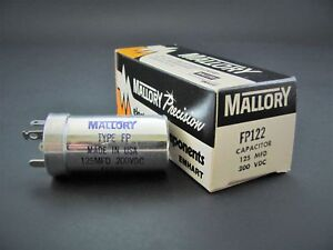 125uf 200v Electrolytic Can Capacitor Mallory Fp122