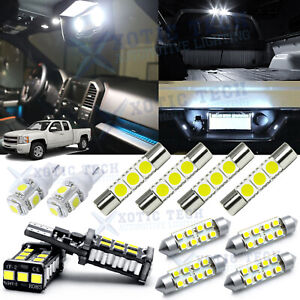 White Led Interior Lights Package License For Chevy Silverado 1500 2500 2007 13