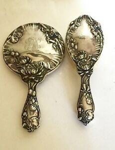 Sterling Silver Classic Maiden Art Nouveau Hand Mirror Brush Dresser Set Antique