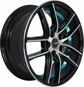 4 Gwg Wheels 17 Inch Black Blue Zero Rims Fits Ford Taurus 2000 2007