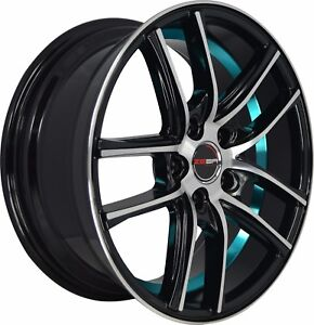 4 Gwg Wheels 17 Inch Black Blue Zero Rims Fits Ford Focus St 2013 2018