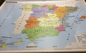 Vintage Rand Mcnally Two Sided Pull Down Map Of Spain 12144a