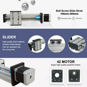 Ball Screw Linear Slide 100 300mm Z Axis Actuator Stepper Motor Damper Cnc