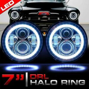 Chrome 7 Inch Led Headlight Round Hi lo Sealed Beam For Chevy Pickup Truck 3100