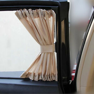 Universal 2pcs Car Sun Shade Curtain 70s 70x39cm Adjustable Uv Protection For Th