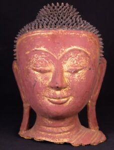 Late 20th Century Old Burmese Buddha Head From Burma Antique Buddha Statues