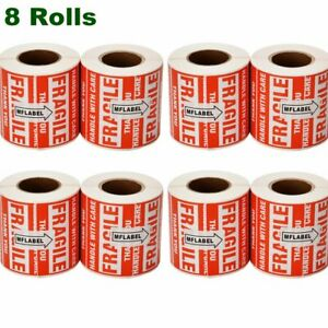 8 Rolls 500 roll 2 X 3 Fragile Stickers Handle With Care Shipping Mailing Labels