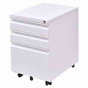 Giantex 3 Drawers Rolling Mobile File Pedestal Storage Cabinet Steel Home Off