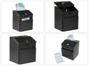 Wall Mountable Steel Suggestion Box With Lock Collection Donation Ballot Box