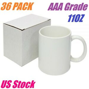 36 White Blank Sublimation Mugs 11oz Grade Aaa Heat Transfer Ceramic Coated Mugs
