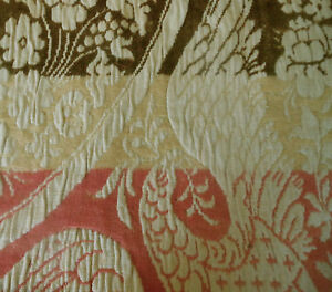 Antique Primitive Wool Linen Woven Jacquard Coverlet Pc Brown Rose Eagle