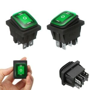 Waterproof 3 position Rocker Switch Green Led On off on 6 pin Dpdt Ac 10a 250v