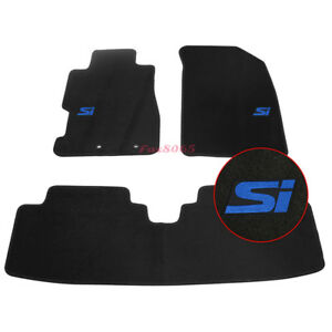 Fits 01 05 Civic Floor Mats Front Rear Nylon Black 3pc W Blue Si Embrodery