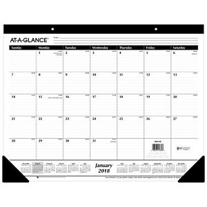 At a glance 2018 Monthly Desk Pad Calendars Ruled Blocks 12 Months January