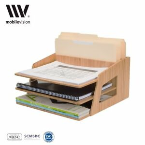 Mobilevision Office Desktop Bamboo Organizer For Files Paper Tray Letter