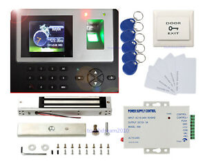 Fingerprint Time Recorder Access Control Kit 600lbs Magnetic Lock Power Supply