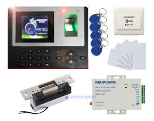 Fingerprint Time Recorder Access Control Kit Ansi Strike Lock 110v Power Supply