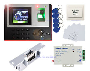 Color Display Fingerprint Access Control Systems Kit Strike No Lock Power Supply