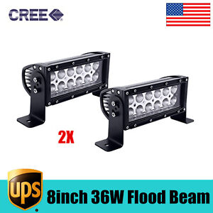 2pcs 8inch 36w Double Row Flood Beam Led Light Bar For Off Road Ford 4wd Truck