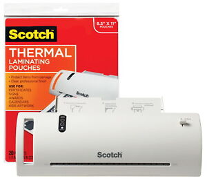 Scotch Thermal Laminator Value Pack With Laminator And 20 Letter Size Pouches