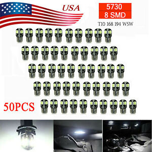 50 X Canbus T10 194 168 W5w 5730 8 Led Smd White Car Side Wedge Light Lamp Bulb