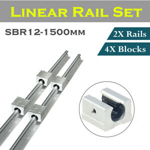 2x Sbr12 300 1500mm Linear Rail Shaft Rod Optional 4pcs Sbr12uu Block