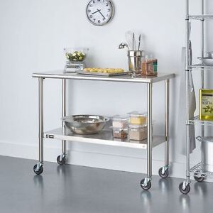 Heavy Duty Utility Cart Stainless Steel Table With Wheels Kitchen Indoor Outdoor