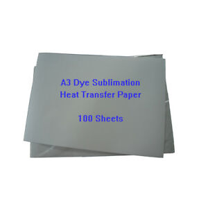 100 Sheets A3 Dye Sublimation Heat Transfer Paper For Mugs Plates Tiles Printing