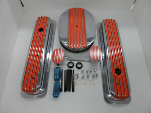 S B Chevy Tall Center Bolt Orange Fin Val Cover Half Fin Air Cleaner Combo