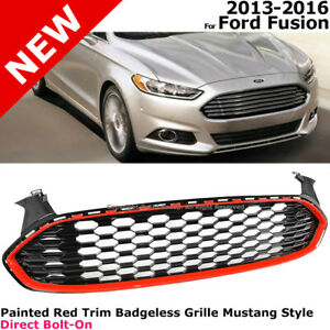 Mustang Style 1 Front Grille For Ford Fusion 13 16 14 15 Honeycomb Red Hexagon