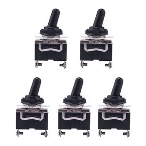 5pcs Heavy Duty On Off 2p Small Spst Toggle Switch Waterproof Boot Cover 12v
