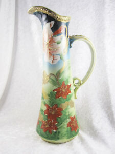 Antique Japanese Hand Painted Japanese Porcelain Large Pitcher