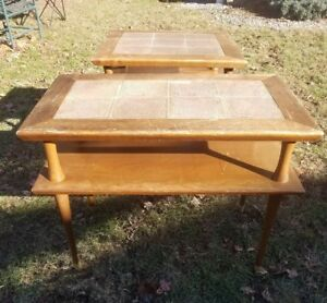 Pair Vintage Mid Century Danish Walnut Tile 2 Tier End Side Accent Tables Kagan