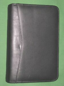 Compact 0 75 Black Italian Leather Bellino Planner Binder Franklin Covey 9176