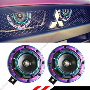 Jdm Neo Chrome 12v Electric Compact Blast Loud Hi Low Grill Mount Horn A Pair