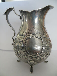 Small Sterling Silver Repousse Pitcher Spaulding Co 165 Grams 4 5 Tall