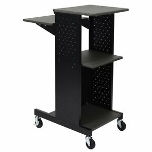 Luxor Ps4000 40 inch 4 shelf Gray Mobile Rolling Presentation Work Stand