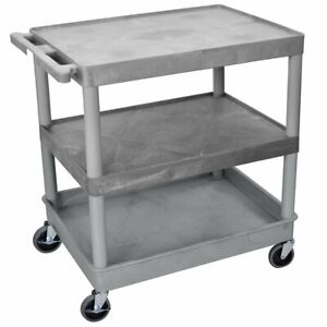 Luxor Tc221 g 3 shelf Gray Large Tub flat Top middle Multi purpose Utility Cart