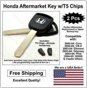 2 Pak Honda Replacement Lasercut Transponder Car Key Blank W T5 Clonable Chip