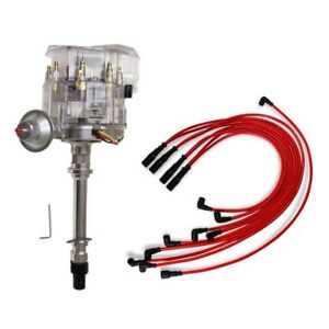 For Sbc Bbc Chevy 350 Clear Cap Hei Distributor 65kv 9 5 Mm Spark Plug Wires