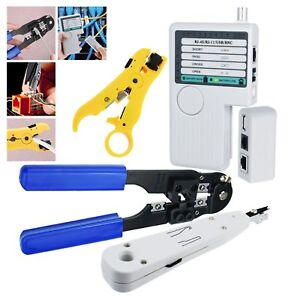 Professional Network Lan Cable Tester Kit Rj45 Plug Crimping Tool Bnc Connectors