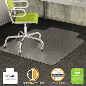 Deflecto Duramat Moderate Use Chair Mat For Low Pile Carpet 36 X 48 W lip Clear
